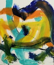 ABSTRACT PAINTING 41 EXPRESSIONIST BIRD OF PREY SIGNED NIGEL WATERS *