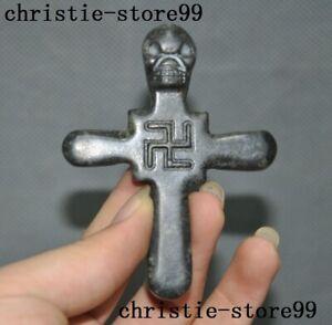 "Tibet Buddhism Meteorite iron Skull death-head ""卍"" cross statue Exorcism Pendant"