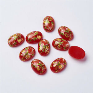 10 Pcs Flat Oval Flower Floral Printed Glass Cabochons Jewelry Making 17x12x5mm