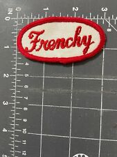 Vintage Frenchy Name Tag Patch Badge Script Cursive White Red Oil & Gas Mechanic