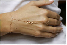 Occident Fashion Simple Golden Number 8 Link Chain Ring Bracelet Hand Harness