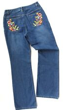 Liz Claiborne Boot Cut Blue Jeans, Embroidered Floral Pockets Womens Size 6, VGC