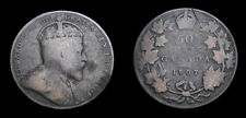 Canada 1907 King Edward VII Silver Fifty 50 Cent Piece Toned VG-8