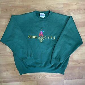 Vintage By Hanes 90s Atlanta Olympics 1996 Green Crewneck Sweatshirt Sz L Unisex