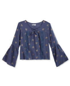 Girls Top Blouse Epic Threads Peasant Metallic Print Bell Sleeves Navy Sz M NWT