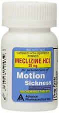 100 Meclizine 25 mg Generic Bonine Motion Sickness Nausea Chewable Tabs Tablets