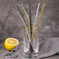 Metal Drinking Straws With Cleaning Brush Reusable Stainless Steel Bar Accessory