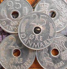 DENMARK - 25 Øre - Frederik IX / Margrethe II  - HOLE COIN - 1 Coin