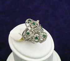 VINTAGE SIGNED 18KT GOLD HGE RINGS GREEN RHINESTONE COCKTAIL MADEIRA SIZE 5