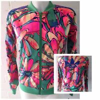 Adidas Originals Women's Tracksuit Jacket Green Size 6 Floral Top Multicoloured