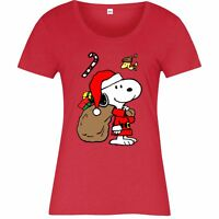 Snoopy Christmas T-Shirt, Snoopy Santa Xmas Festive Gift Adult Ladies Top