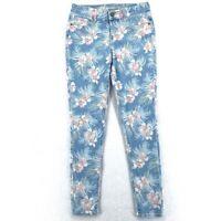 Old Navy Rockstar Womens Jeans Size 4 Floral Print Denim Skinny Mid Rise Crop
