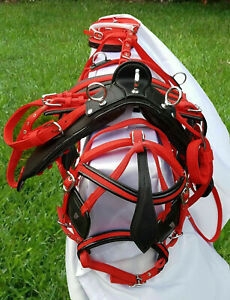 NYLON WEBBING CART DRIVING HARNESS, TWO TONE  WITH RED / BLACK & YELLOW / BLACK