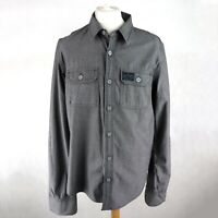 Mens SUPERDRY Long sleeve shirt Size UK XXL Button up Smart Grey Casual Cuff-up
