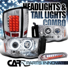 02-05 Ram 1500 Chrome Halo Projector Headlights+LED Tail Lamps+3rd Brake Light