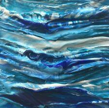 "STORMY SEASCAPE Acrylic Sea Palette Knife Painting 4""x4"" Julia Garcia Art NEW"