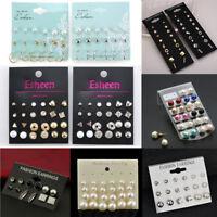 Charm Pearls 12 Pairs Rhinestone Crystal Ear Stud Earrings Fashion Jewelry Set