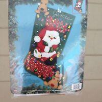 """Bucilla felt Applique 18"""" Christmas stocking kit Bah Humbug Santa Dog sealed NEW"""