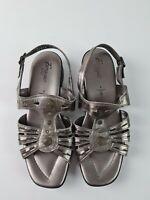 Froggie Pewter Sandal Low Heel Women's Size UK6 US8 Sling back MADE South AFRICA