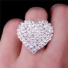 Groß Liebes Ring Herz Zirkonia Farbe Silber Strass Größe Verstellbar 3400
