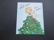 #K700- Vintage Unused Xmas Greeting Card Sweet Angel on Top of Holiday Tree