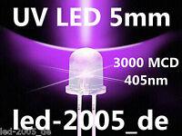 30 x UV LED 5mm,3000 mcd,405nm,2 Pins,3V,20mA,LED UV 5mm,LED 5mm Ultraviolett,