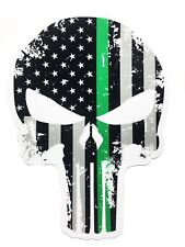 Tattered 5x4 Inch Subdued Us Flag Punisher Skull Decal with Thin green line