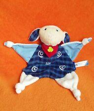 "Ravensburger Cream Lamb Sheep Comforter Baby Soft Toy Blankie Doudou Blue 11"""