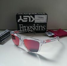 NEW OAKLEY FROGSKINS CRYSTAL CLEAR w/ TORCH IRIDIUM Sunglasses holbrook sliver