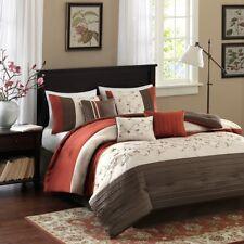 Queen Size New Serene Embroidered 7 Piece Comforter Set Orange Madison Park 1366