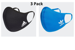 adidas Adult Face Cover Facemask One Size Fits All - 3 Pack (Medium/Large)
