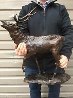 Large Cerf en Bronze, Exclusif Bronze Fonte Cerf Grand Bronze Cerf Jambe Up