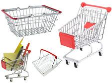 Children Kids Mini Metal Shopping Trolley & Basket Role Play Pretend Toy Kids