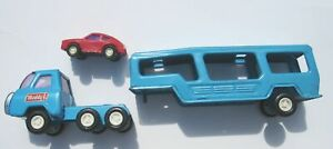 1970s Buddy L Car Carrier Transport Trailer Diecast With Car 1:43 Blue VERY GOOD