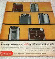 RONSON CIGARETTE LIGHTERS. 1950s Vintage Magazine Advert.  Free UK Post