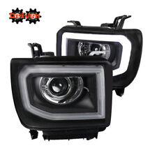 14-16 GMC Sierra Truck Black Housing Projector Halo LED Headlights Crew Single