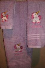 Unicorn Pony Personalized 3 Piece Bath Towel Set  Any Color