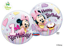 """Disney Baby Minnie Mouse 22"""" Qualatex BUBBLE Balloons Birthday Party Supplies~"""