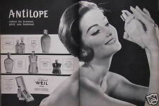 PUBLICITÉ 1960 ANTILOPE PARFUMS WEIL PARIS CRÉATEUR DE ZIBELINE - ADVERTISING