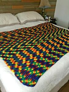"Afghan Throw Blanket Bright Colors Rainbow Crocheted Handmade 68"" x 68"" square"