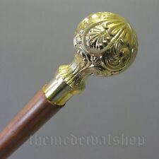 Victorian Walking Stick Solid wooden brown Cane Brass head Antique halloween