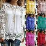 Plus Size S-5XL US Women Long Sleeve Shirt Casual Lace Blouse Loose Tops T-Shirt
