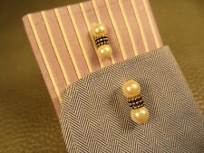 Vintage Banded Pearls Yellow Gold Plated Cufflinks