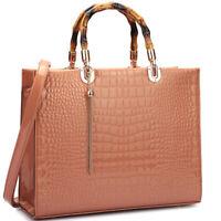 Dasein Women Handbag Croco Leather Briefcase Satchel Bag Wooden Handle Purse
