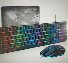 CHONCHOW LED Wired Gaming Keyboard with USB Mouse for PS4 PC Windows Mac, Black