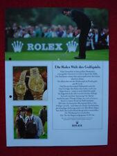 """ROLEX-Werbe-Faltblatt """"ROLEX - DIE Rolex Welt des Golfspiels"""", circa 1988 / 1989"""
