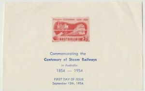 Stamp Australia 1954 Centenary of Steam Railways Bergen proof sheetlet for FDC