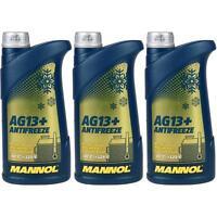 3x1 Liter MANNOL Kühlerfrostschutz Typ G13+ Fertiggemisch Antifreeze -40°C Gelb