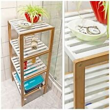 Top Home Solutions Wooden Freestanding Bamboo Storage Unit Display Shelf for 4