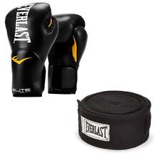 Everlast Elite Pro Boxing Gloves Size 14, Black and 120 Inch Hand Wraps, Black